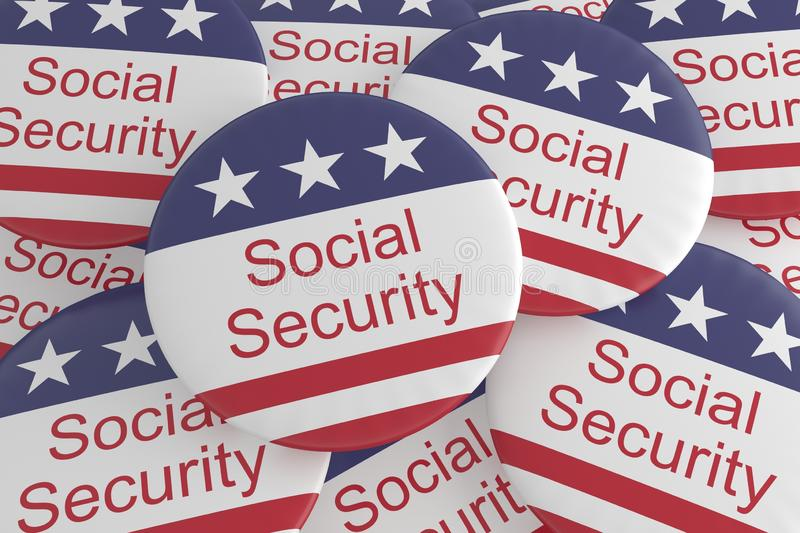 USA Politics News Badges: Pile of Social Security Buttons With US Flag. 3d illustration stock illustration