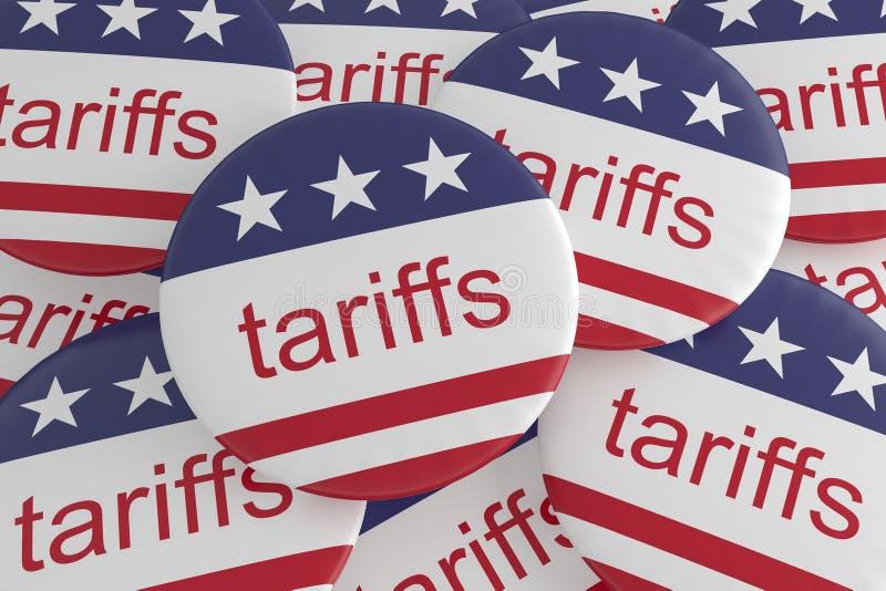 USA Politics News Badges: Pile of Tariffs Buttons With US Flag, 3d illustration. USA Politics News Badges: Pile of Tariffs Buttons With US Flag 3d illustration vector illustration