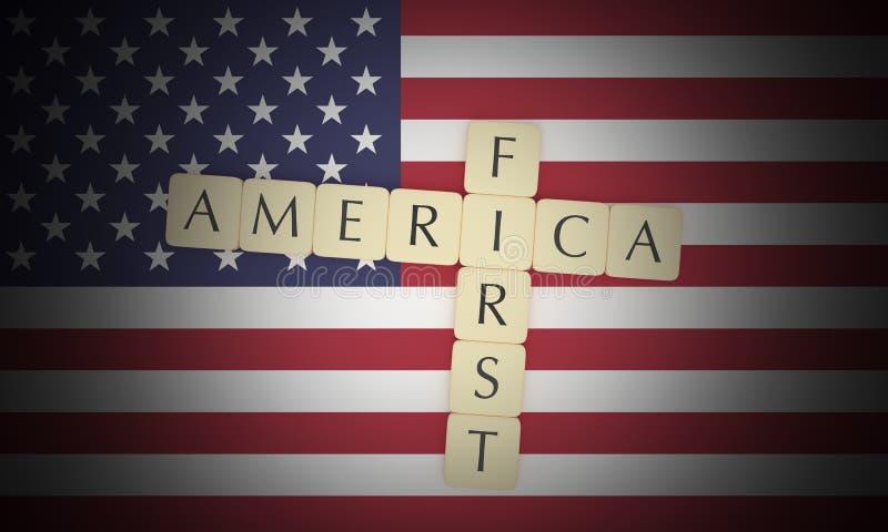 USA Politics News Concept: Letter Tiles America First On US Flag. 3d illustration royalty free illustration