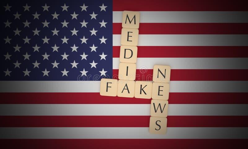 Politics News Concept: Letter Tiles Fake News Media On US Flag, 3d illustration. USA Politics News Concept: Letter Tiles Fake News Media On US Flag, 3d royalty free illustration