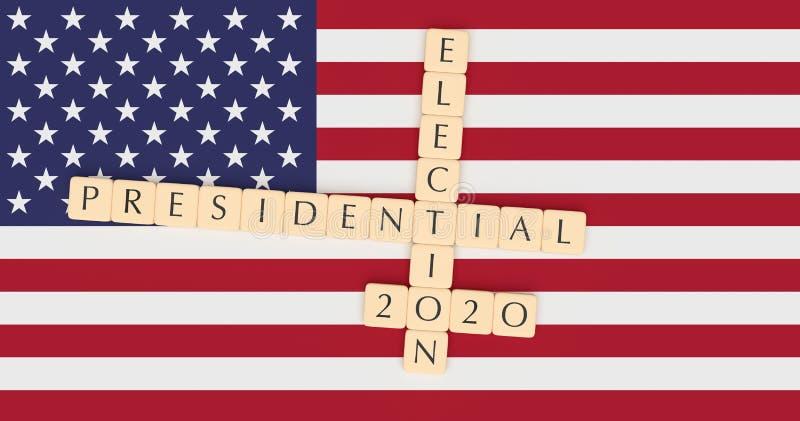 Letter Tiles Presidential Election 2020 With US Flag, 3d illustration. USA Politics News Concept: Letter Tiles Presidential Election 2020 With US Flag, 3d royalty free illustration