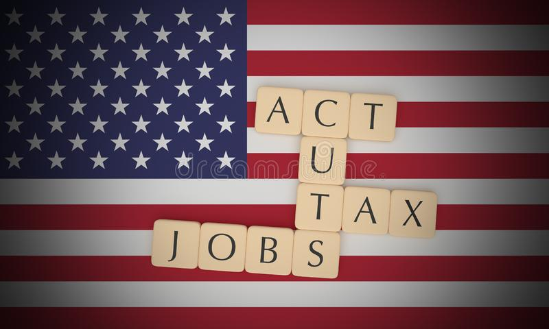 USA News Concept: Letter Tiles Tax Cuts And Jobs Act On US Flag, 3d illustration. USA Politics News Concept: Letter Tiles Tax Cuts And Jobs Act On US Flag, 3d stock illustration