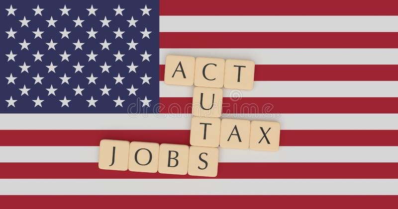 USA News Concept: Letter Tiles Tax Cuts And Jobs Act On US Flag, 3d illustration. USA Politics News Concept: Letter Tiles Tax Cuts And Jobs Act On US Flag, 3d royalty free illustration