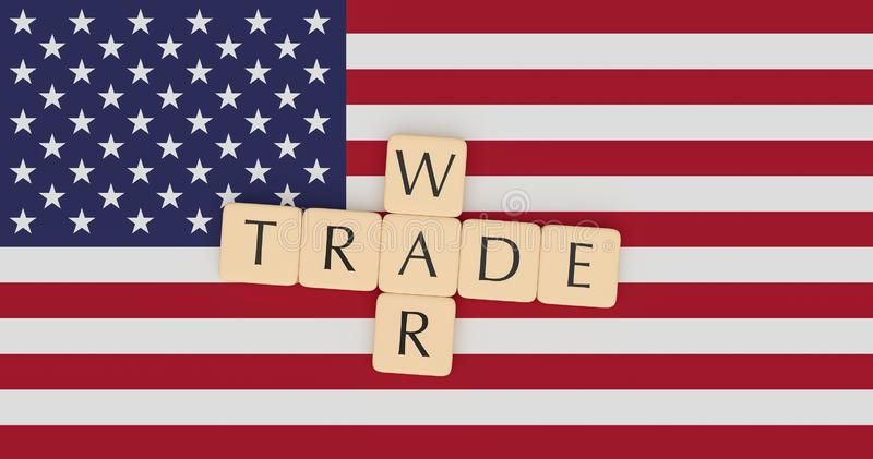 USA News Concept: Letter Tiles Trade War On US Flag, 3d illustration. USA Politics News Concept: Letter Tiles Trade War On US Flag, 3d illustration royalty free illustration