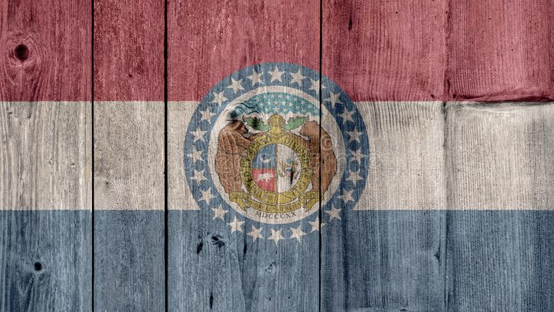 US State Missouri Flag Wooden Fence stock images