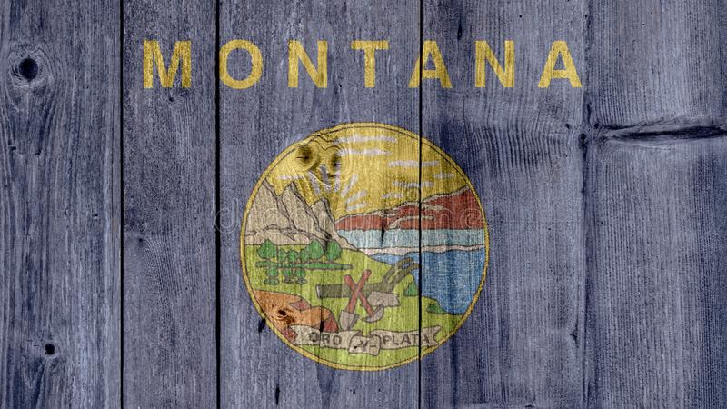 US State Montana Flag Wooden Fence stock photo