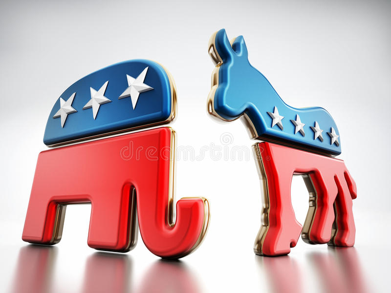 USA politiskt partisymboler stock illustrationer