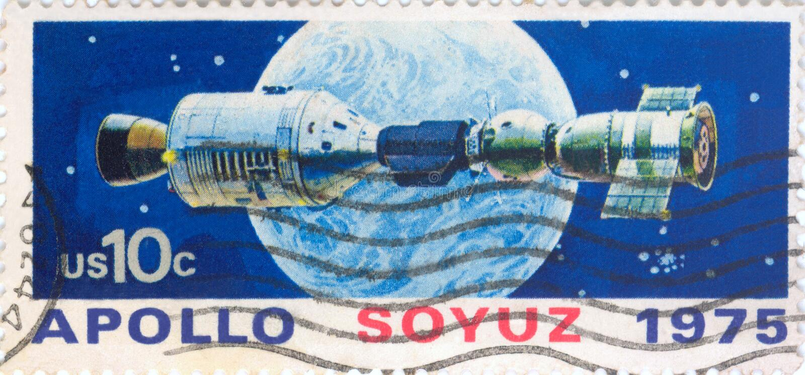 USA postage stamp. United States Postage 10 cent stamp Apollo Soyuz space travel 1975 stock image