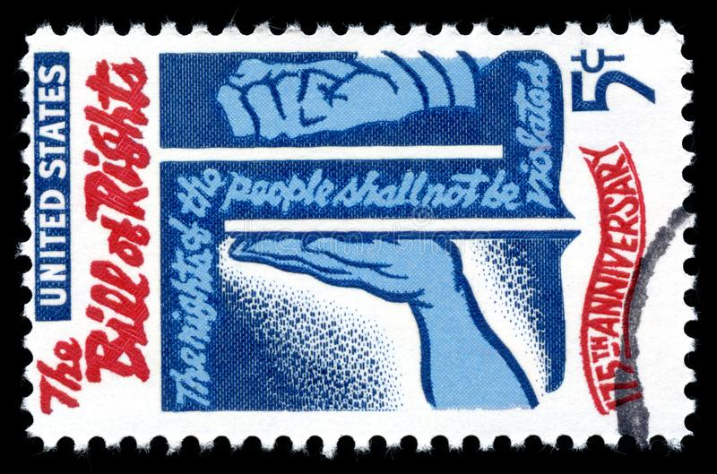 USA Postage Stamp Bill of Rights. London, UK, February 19 2018 - Vintage 1966 United States of America cancelled 5 cents postage stamp with an engraving of the royalty free stock photography