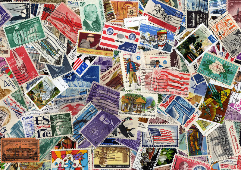 Download USA Postage Stamp Collection Stock Image - Image: 17752837