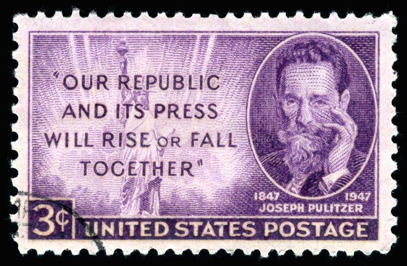 USA postage stamp portrait of Joseph Pulitzer stock photo