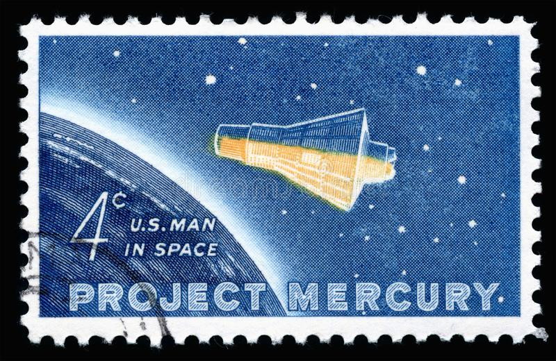 USA Postage Stamp Project Mercury. London, UK, February 19 2018 - Vintage 1962 United States of America 4 cents cancelled postage stamp showing Project Mercury royalty free stock photo