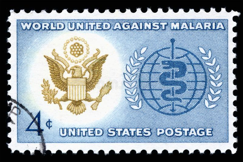 USA Postage Stamp World Unite Against Malaria. London, UK, February 19 2018 - Vintage 1962 United States of America 4 cents cancelled postage stamp showing World stock photos
