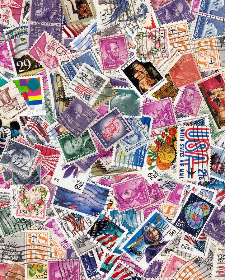 Usa postage stamps. Used US Postage Stamps for background