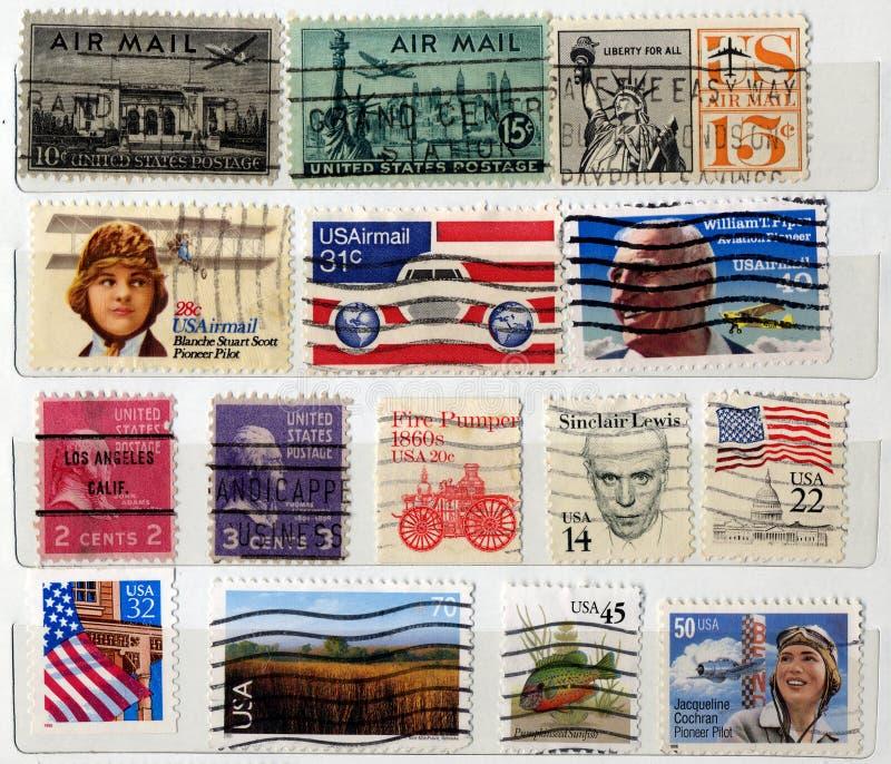 USA postage stamps stock photo