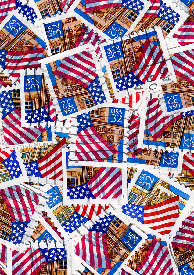 Usa Postage Stamps - Flags Royalty Free Stock Image