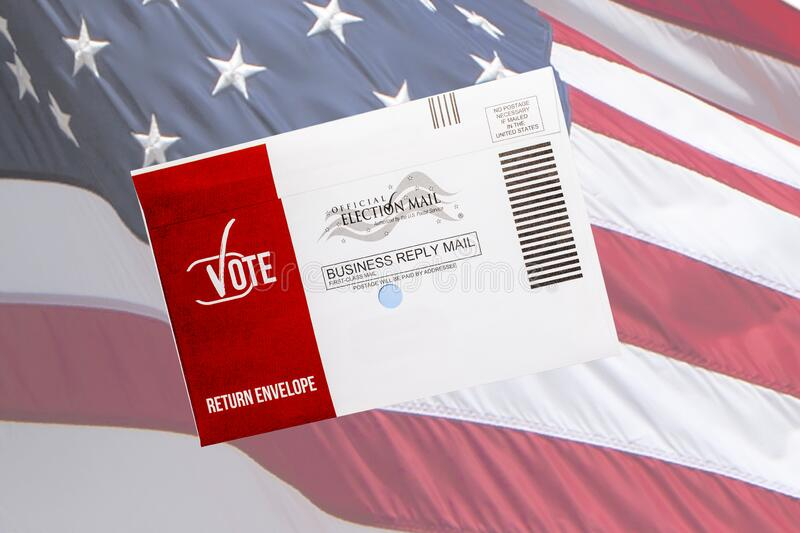 USA Vote By Mail Ballot with USA Flag Background stock photos
