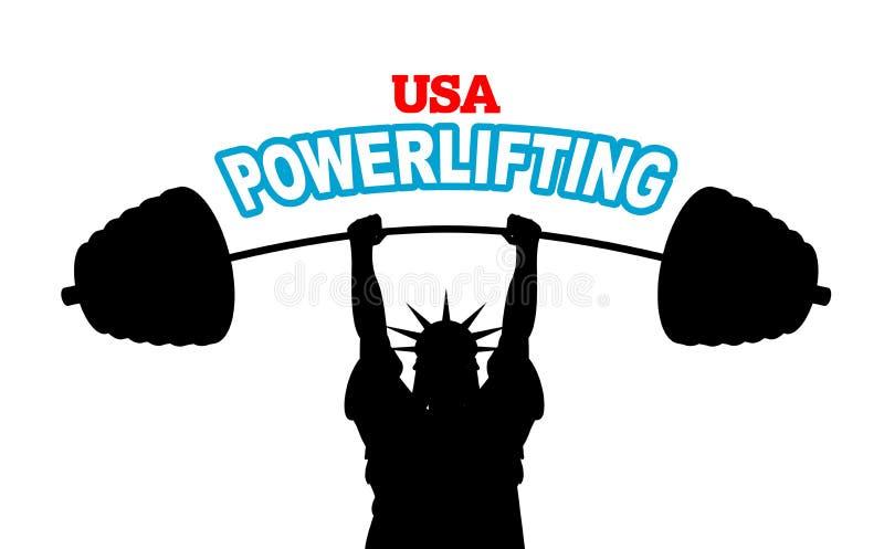 USA powerlifting emblemat silna statuy wolności barbell ławka ilustracja wektor