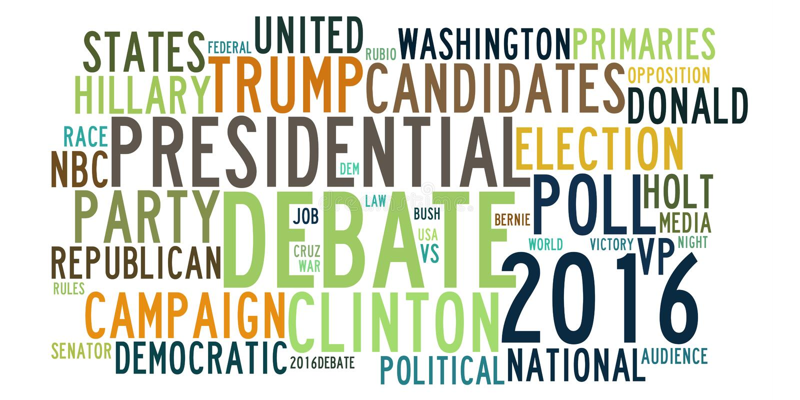 USA-Präsidentschaftswahldebatten im Worttag-cloud stock abbildung