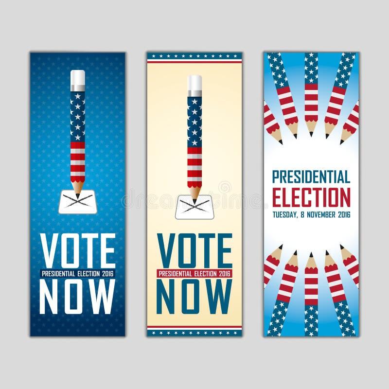 2016 USA-Präsidentschaftswahlkampf fahne stock abbildung