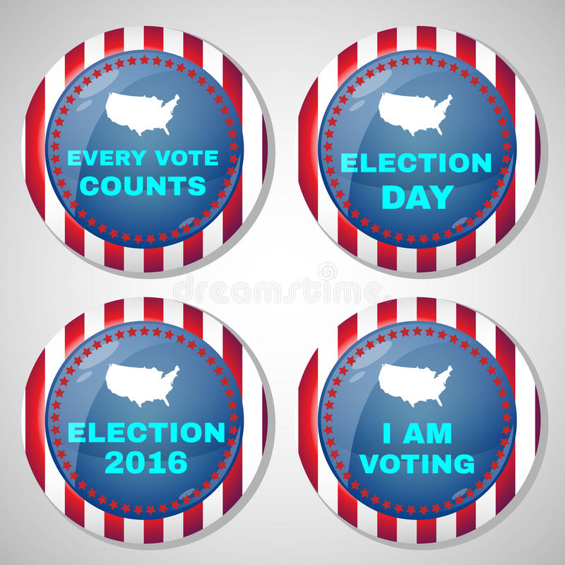 Usa Presidential Election Campaign Badges vector illustration