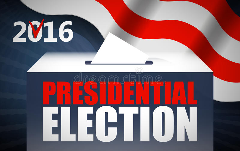 USA presidential election day concept vector illustration. Putting voting paper in the ballot box with american flag on. Background. Voting concept in flat stock illustration