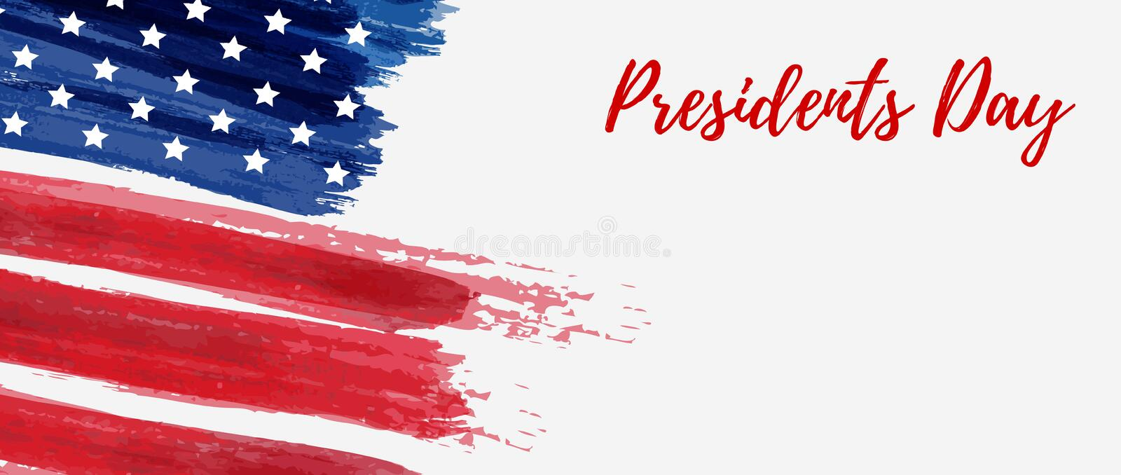 USA Presidents Day holiday background. USA Presidents day background. Vector abstract grunge brushed flag with text. Template for horizontal banner royalty free illustration