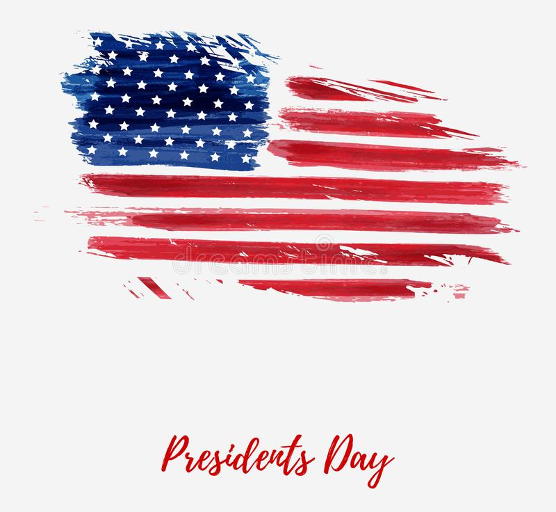USA Presidents Day holiday background. USA Presidents day background. Vector abstract grunge brushed flag with text. Template for horizontal banner stock illustration