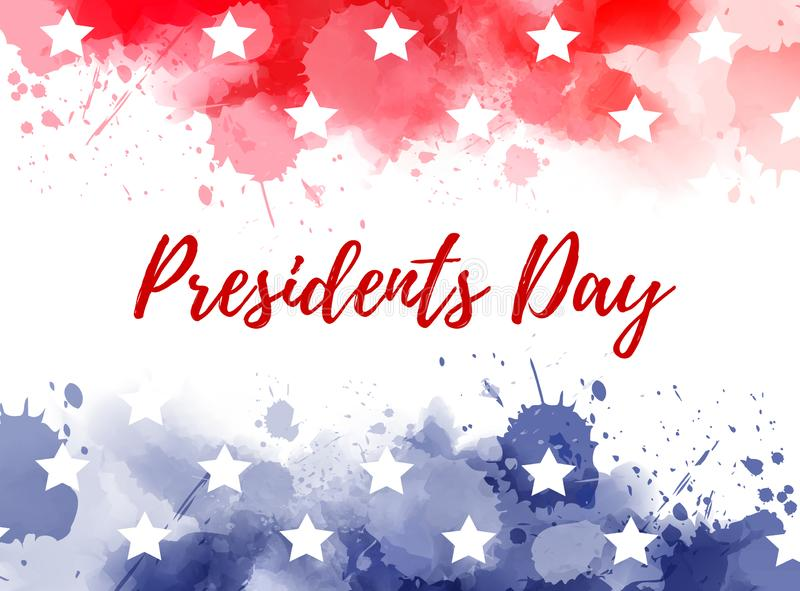 USA Presidents day. Background. Abstract background with paint splashes in USA flag colors. Template for national holiday background royalty free illustration