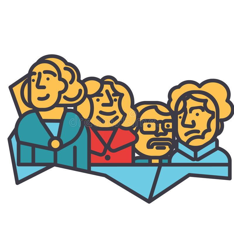 Usa prezydenci, góry rushmore płaska kreskowa ilustracja, pojęcie wektoru ikona ilustracji