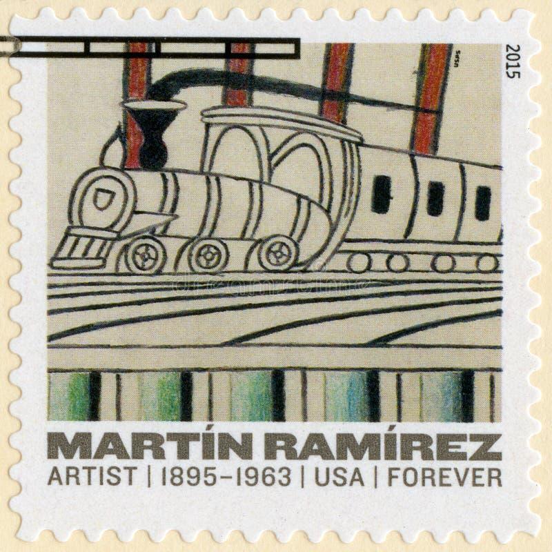 USA - 2015: przedstawienia Bez tytułu, pociągi na Pochyłych śladach Martin Ramirez 1895-1963 uczący artysty ilustracja wektor
