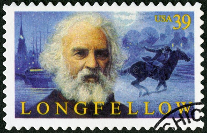 USA - 2007: przedstawienia Henry Wadsworth Longfellow 1807-1882, Amerykańska poeta obrazy stock