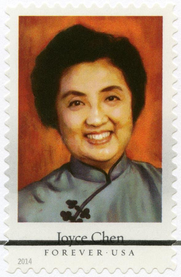 USA - 2014: przedstawienia Joyce Chen 1917-1994, Chiński szef kuchni, autor i telewizyjna osobowość, serii osobistości szefowie k obrazy royalty free