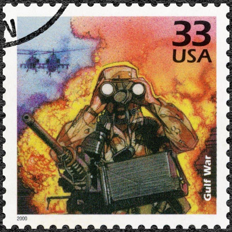 USA - 2000: przedstawienie żołnierz i Chinook helikoptery, Irakijska inwazja Kuwejt, 1990, poświęcać wojnę zatokową, serie Świętu obraz stock