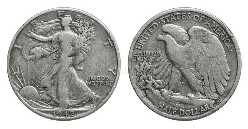 USA Przyrodni dolar 50 centów srebna moneta 1942 zdjęcia royalty free