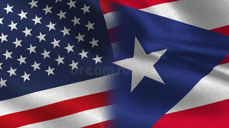 Usa and Puerto Rico Realistic Half Flags Together. High Details for business royalty free stock photography