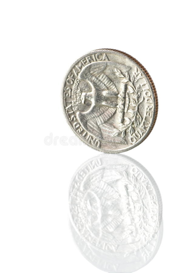 USA quarter. Stand quarter and reflection on white stock photo