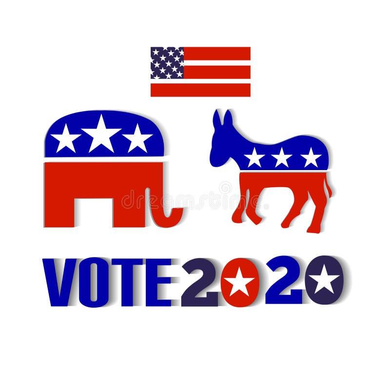 USA röstar bilden 2020 för kortet för ID för designen för bakgrundsvektorillustrationen vektor illustrationer