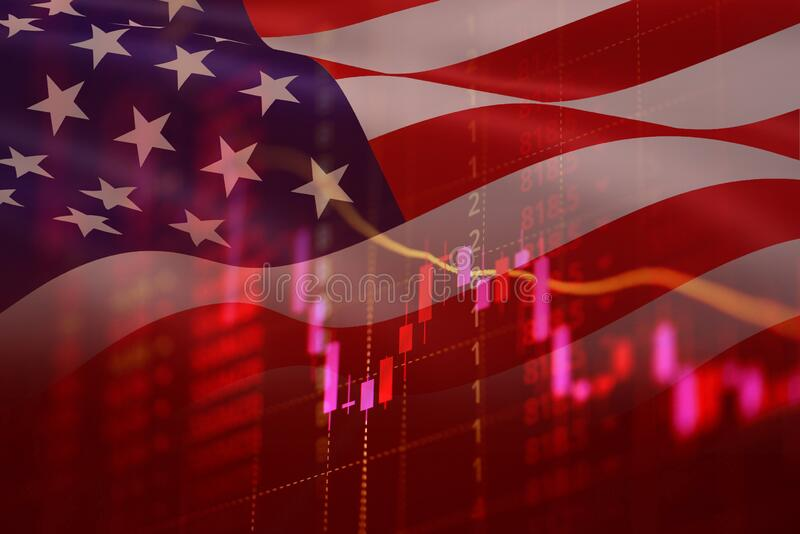 USA recession economy stock crash red market trade war economic world financial business and stock crisis and markets down because royalty free stock photos