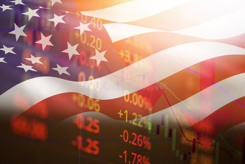 USA recession economy stock crash red market trade war economic world financial business and stock crisis and markets down because stock images