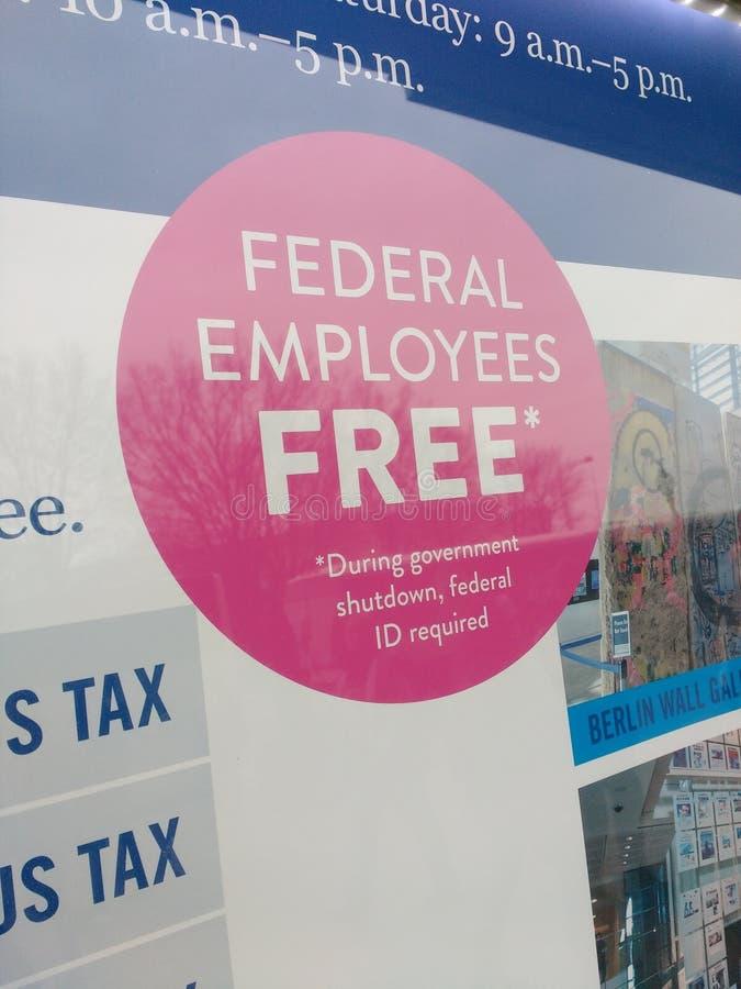 USA-regeringavstängning, fria federala anställda, Newseum, Washington DC, USA royaltyfria bilder