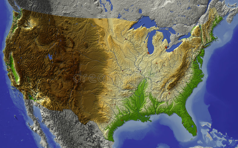 USA, relief map. Relief map of conterminous USA. Shows major cities and rivers, surrounding territory greyed out. Artificially colored according to terrain vector illustration