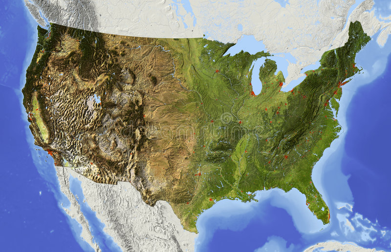 USA, relief map. USA. Shaded relief map of the conterminous USA. Surrounding territory greyed out. Colored according to elevation and dominant vegetation stock illustration