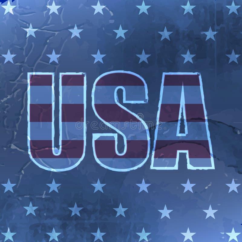 USA retro bakgrund med grungeeffekt för tappningdesign stock illustrationer