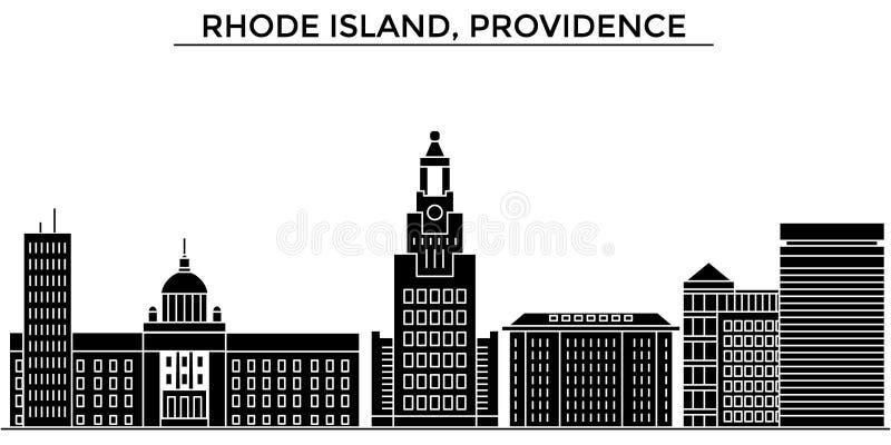 Usa, Rhode - wyspy, opatrzności architektury miasto wektorowa linia horyzontu, podróż pejzaż miejski z punktami zwrotnymi, budynk royalty ilustracja