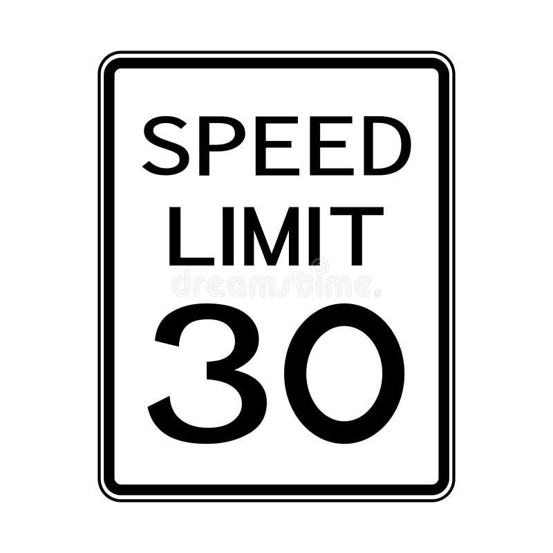 USA Road Traffic Transportation Sign: Speed Limit 30 On White Background,Vector Illustration stock illustration