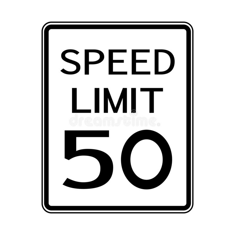 USA Road Traffic Transportation Sign: Speed Limit 50 On White Background,Vector Illustration. Warning, highway, safety, symbol, mph, travel, isolated, street vector illustration