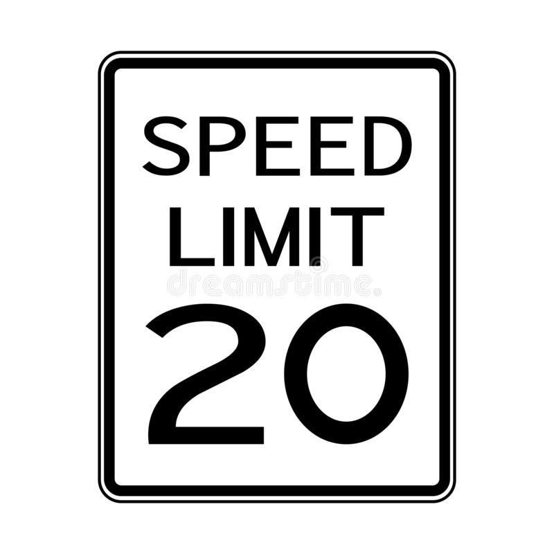 USA Road Traffic Transportation Sign: Speed Limit 20 On White Background,Vector Illustration. Warning, highway, safety, symbol, mph, travel, isolated, street vector illustration