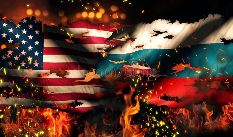 USA Rosja flaga państowowa Wojenny Drzejący Pożarniczy Międzynarodowy konflikt 3D ilustracja wektor