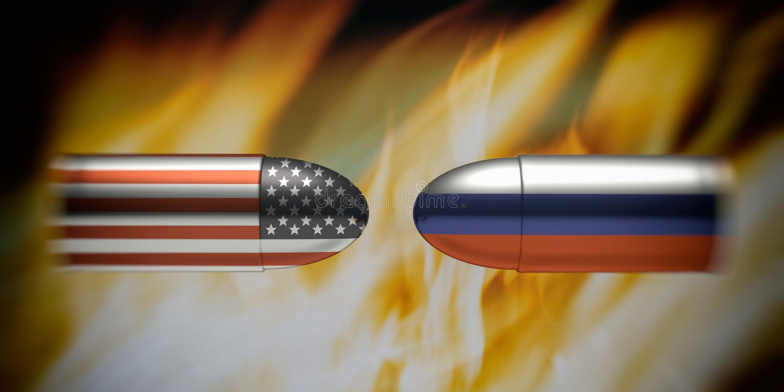 USA and Russia conflict concept. Russian and American flags on bullets, fire flames background stock illustration
